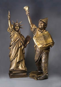 Let Freedom Ring & Lil Liberty a Bronze Allegorical Sculpture by James Muir