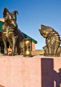 Heart of the Hound & Soul of the Cat/'TIME' a Bronze Allegorical Sculpture by James Muir