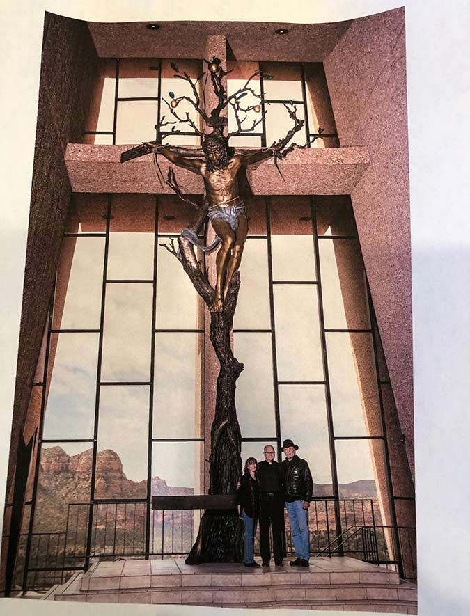 Sculpture Installation of Christ of the Holy Cross a monumwental sculpture by James Muir