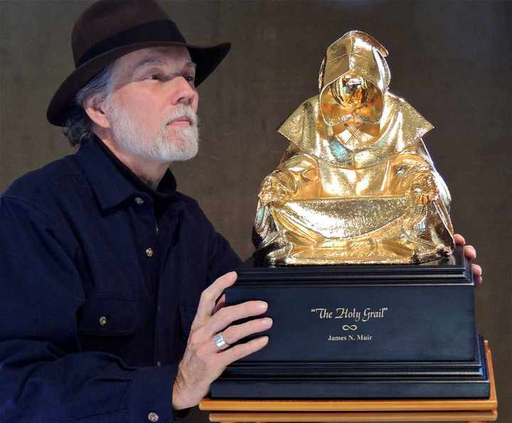 The Holy Grail a Bronze Sculpture Allegory plated in gold by James Muir Bronze Allegorical Sculptor-Artist