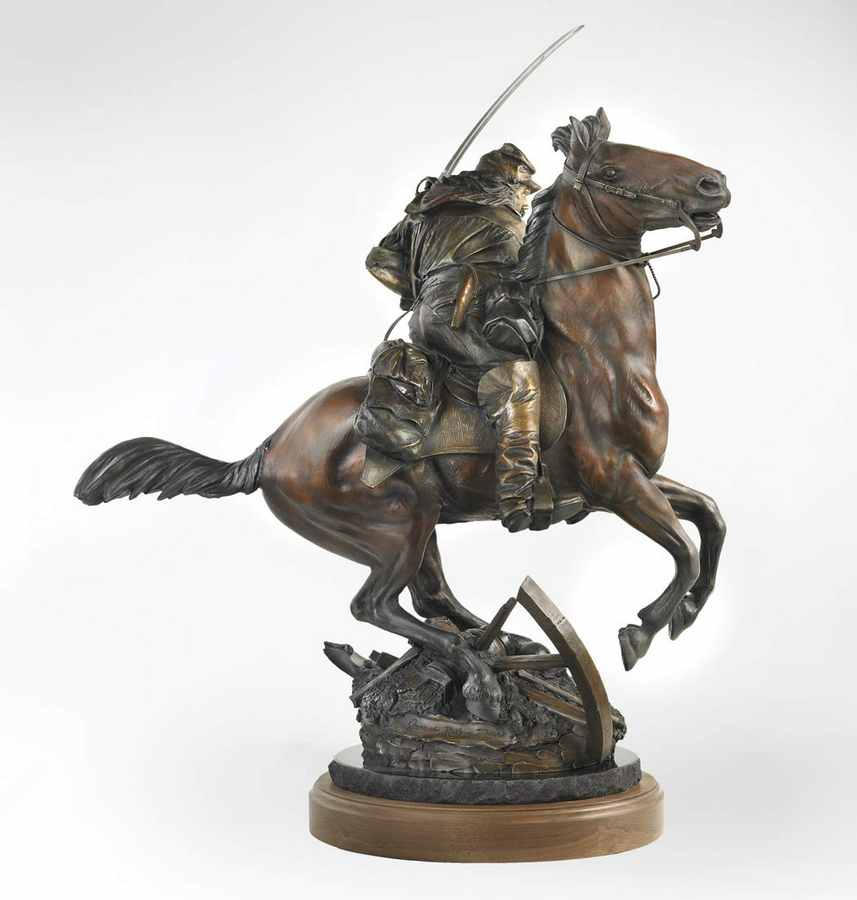 The Last Horseman a Bronze Civil War Sculpture Allegory by James Muir Bronze Allegorical Sculptor