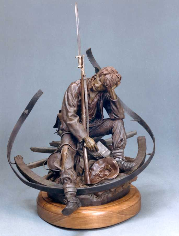 Letter From Home a maquette-sized Bronze Civil War Sculpture Allegory by James Muir