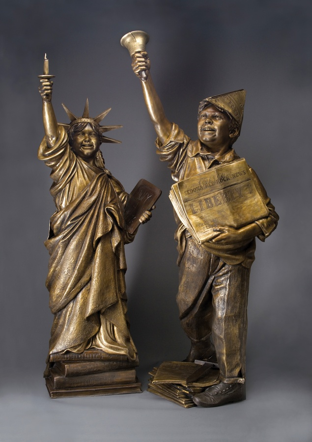 Let Freedom Ring & Lil Liberty Life-size Bronze Sculpture Allegories by James Muir