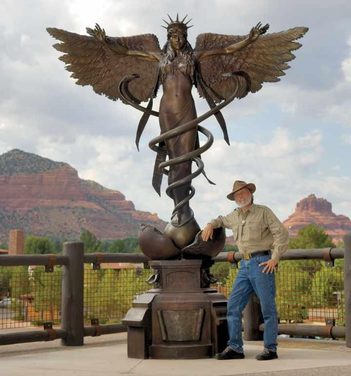 Caduceus A Monumental Bronze Sculpture By James Muir Bronze