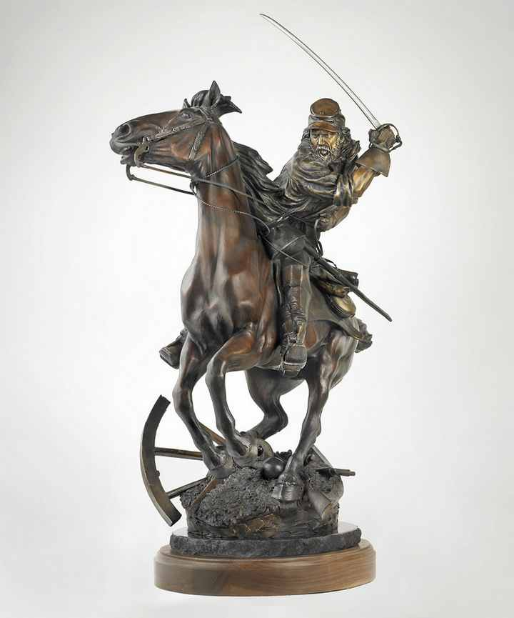 The Last Horseman a Bronze Civil War Sculpture Allegory by James Muir Bronze Allegorical Sculptor-Artist