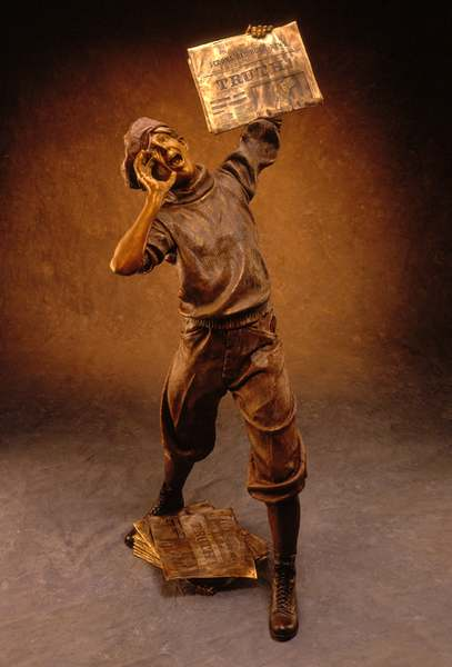 The Newsboy Maquette Bronze Sculpture Allegory by James Muir Bronze Allegorical Sculptor-Artist