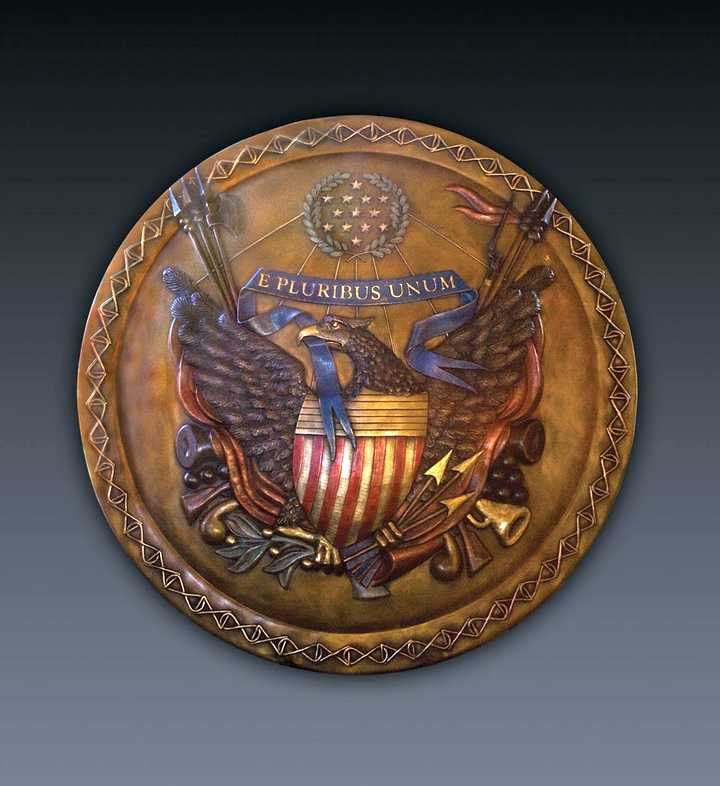 The Shield of America a Bronze Sculpture Allegory by James Muir Bronze Allegorical Sculptor-Artist